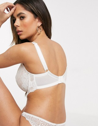 Pour Moi? Pour Moi Fuller Bust Amour lace overlay non padded bra in white / beige