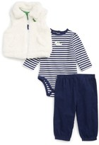 Little Me Infant Boy's Fleece Vest, Bodysuit & Pants Set
