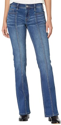 Rock and Roll Cowgirl Mid-Rise Bootcut with Clean Pocket and Front Seam Detail in Medium Wash W1-6158 (Medium Wash) Women's Jeans