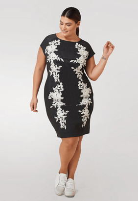 Marée Pour Toi Pinstripe Midi Dress w/ Lace Applique in Gray Size 22