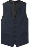 Thom Sweeney - Storm-Blue Windowpane-Checked Wool Waistcoat