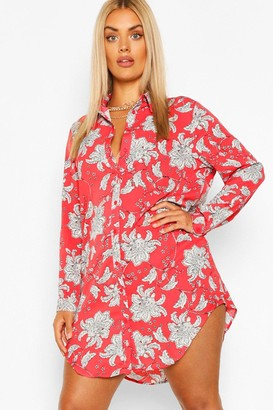 boohoo Plus Paisley Printed Shirt Dress