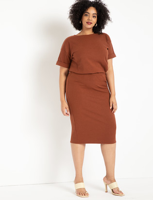 ELOQUII Ribbed Column Skirt