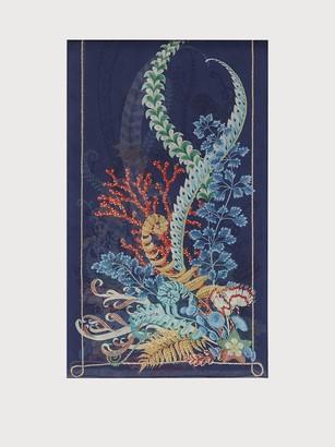 Salvatore Ferragamo Women Atlantis printed silk scarf Blue Marine
