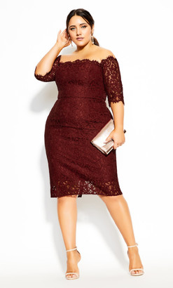 City Chic Lace Love Dress - bordeaux
