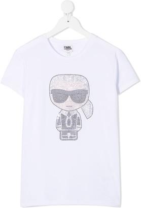 Karl Lagerfeld Paris TEEN Ikonik rhinestone-embellished T-shirt