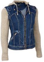 Black Rivet Womens Trailblazer Hooded Denim Jacket Vest
