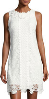 Neiman Marcus Embroidered Lace Sleeveless Dress, White