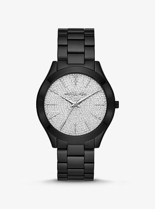 Michael Kors Slim Runway Pave Black-Tone Watch