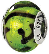 Green & Black Prerogatives Sterling Italian Murano Glass Bead