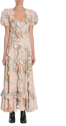Alexander McQueen Floral Print Ruched Silk Dress
