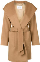 Max Mara hooded belted coat - women - Viscose/Camel Hair - 44