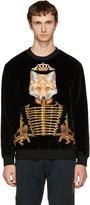 Dolce & Gabbana Black Velvet Royal Fox Sweatshirt