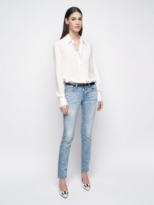 Saint Laurent Stretch Cotton Denim Skinny Jeans