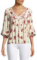 BA&SH Brige V-Neck 3/4-Sleeve Floral-Print Top