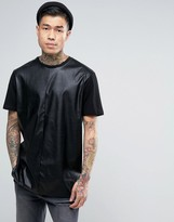 Asos Longline T-Shirt In Leather Look