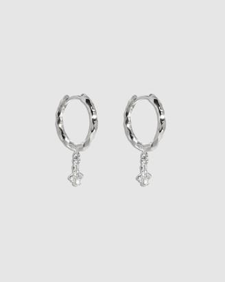 Molten Store The Silver Diamond Bee Hoop Earrings