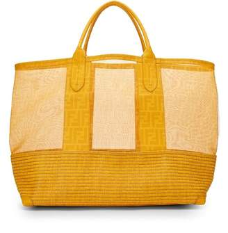 Fendi Yellow Woven Zucca Coated Canvas Tote Bag Large
