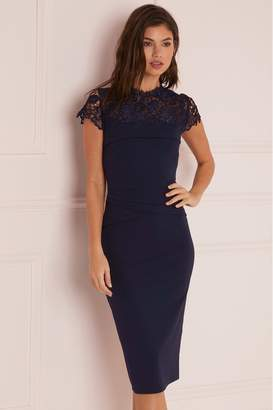 Lipsy Lace Detail Bodycon Dress - 6 - Blue