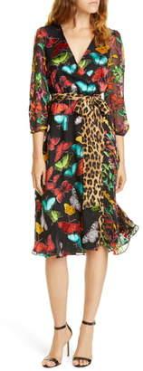 Alice + Olivia Jesse Pattern Mix Wrap Front Dress