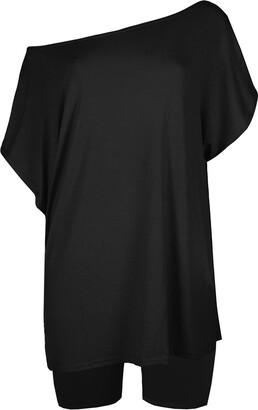 Fashion Star Womens T-Shirt One Shoulder Shorts Co-ord Set 2 Piece Set Navy Plus Size (UK 16/18)