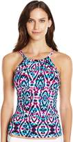 Caribbean Joe Women's Rebel Yell Adjustable High Neck Tankini with Underwire