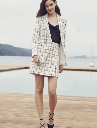 Forever New Loulou Boucle Blazer - Windowpane Check - 16