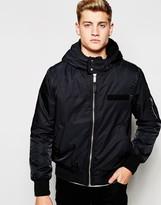 Cheap Monday Bomber Jacket Hooded Nylon - Black
