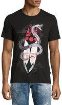 Just Cavalli Snake & Surfboard Graphic T-Shirt, Black