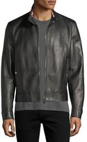 Bally Leather Cafe Racer Jacket, Black
