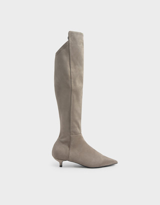 Charles & Keith Textured Kitten Heel Knee High Boots