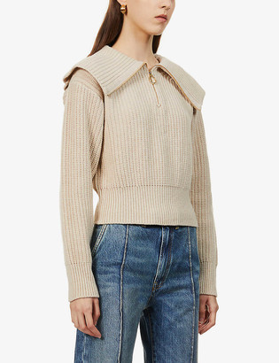 Sandro Sailor-collar purl-knit wool-blend jumper