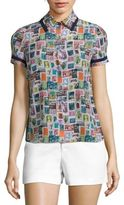 Alice + Olivia Oswald Printed Silk Shirt