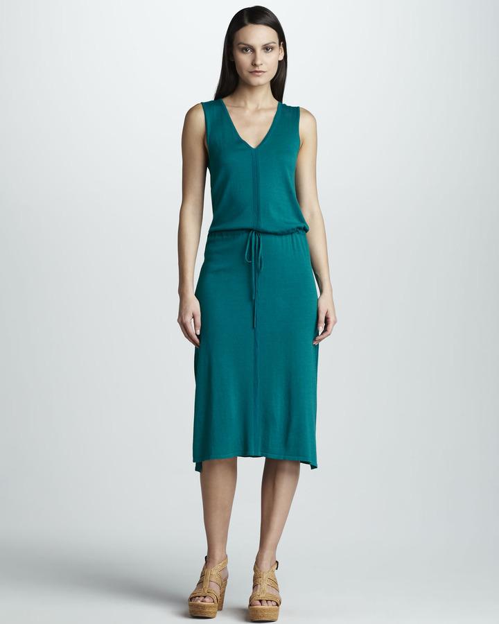 White + Warren Knit Drawstring Dress