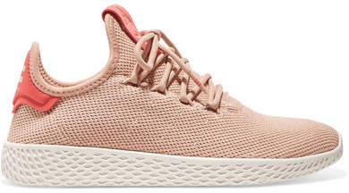 adidas + Pharrell Williams Tennis Hu Stretch-knit Sneakers - Blush