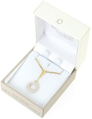 Evoke Gold Plated Sterling Silver Swarovski Crystal Halo Drop Pendant Necklace