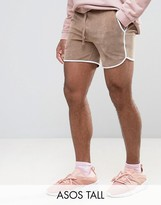 Asos Tall Runner Shorts In Beige Velour