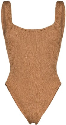 Hunza G Square-Neck Crinkle-Effect Swimsuit