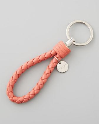 Bottega Veneta Braided Loop Key Ring, Boucher Pink