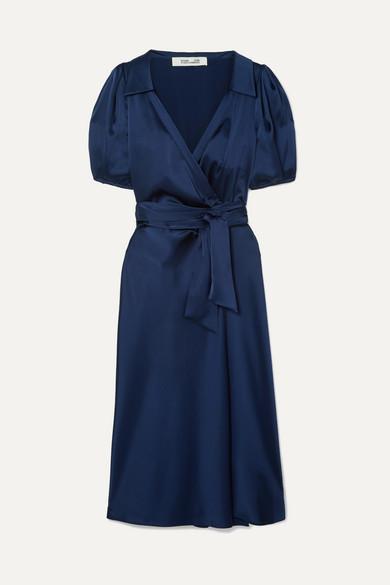 Diane von Furstenberg Valentina Satin Wrap Dress - Navy