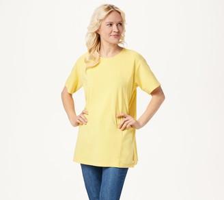 Denim & Co. Jersey Round-Neck Elbow-Sleeve Oversized Tunic
