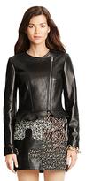 Diane von Furstenberg Heather Ruffle Detail Leather Jacket