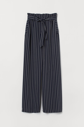 H&M Wide trousers with a tie belt