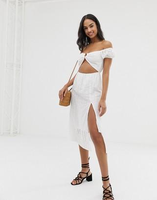 Fashion Union paella cold shoulder beach dress in white