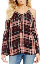 Jessica Simpson Elise Plaid Cold Shoulder Bell Sleeve Top