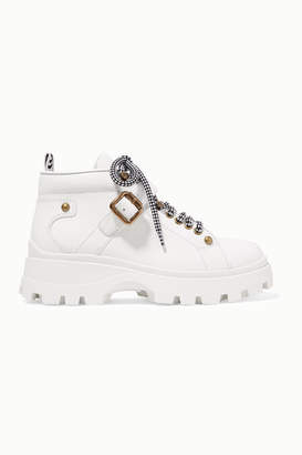 Miu Miu Buckled Leather Ankle Boots - White