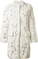 Sonia Rykiel sheer detail midi coat - women - Cotton/Polyamide/Polyester - L