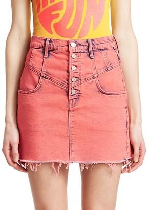 Mother Swooner Distressed Hem A-Line Denim Skirt