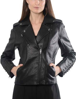 Anna Cai Faux-Leather Studded Moto Jacket