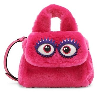 Moschino With Eyes Faux Fur Shoulder Bag